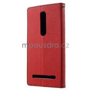 Zapínací PU kožené pouzdro na Asus Zenfone 2 ZE551ML - červené - 2