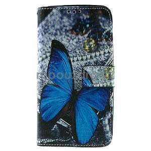 Zapínací peněženkové pouzdro na Asus Zenfone 2 ZE551ML - modrý motýl - 2
