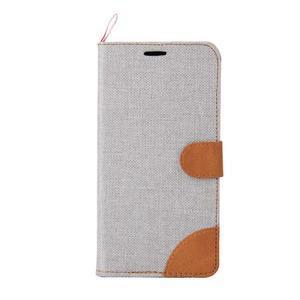 Šedé peněženkové látkové/PU kožené pouzdro pro Asus Zenfone 2 ZE551ML - 2