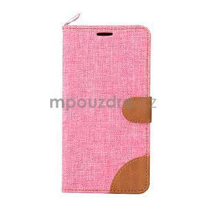 Růžové peněženkové látkové/PU kožené pouzdro pro Asus Zenfone 2 ZE551ML - 2