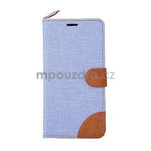 Světle modré peněženkové látkové/PU kožené pouzdro pro Asus Zenfone 2 ZE551ML - 2