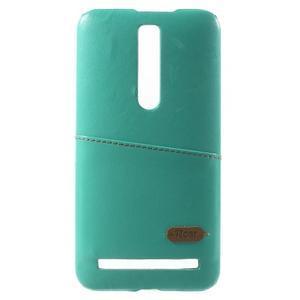 Azurový PU kožený/plastový kryt na Asus Zenfone 2 ZE551ML - 2