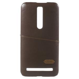 Hnědý PU kožený/plastový kryt na Asus Zenfone 2 ZE551ML - 2