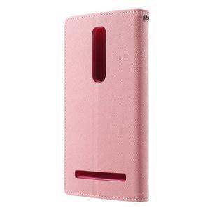Zapínací PU kožené pouzdro na Asus Zenfone 2 ZE551ML - růžové - 2