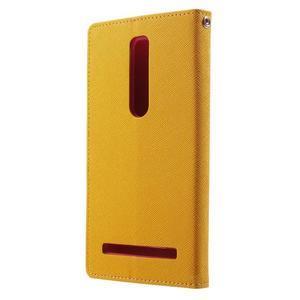 Zapínací PU kožené pouzdro na Asus Zenfone 2 ZE551ML - žluté - 2