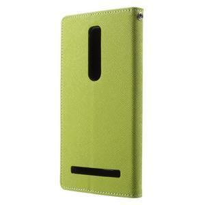 Zapínací PU kožené pouzdro na Asus Zenfone 2 ZE551ML - zelené - 2