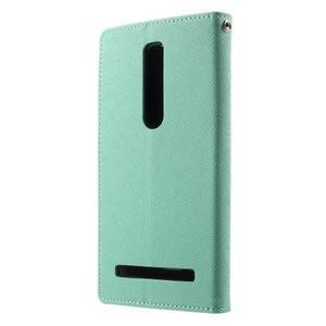 Zapínací PU kožené pouzdro na Asus Zenfone 2 ZE551ML - azurové - 2