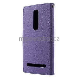 Zapínací PU kožené pouzdro na Asus Zenfone 2 ZE551ML - fialové - 2