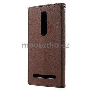 Zapínací PU kožené pouzdro na Asus Zenfone 2 ZE551ML - hnědé - 2