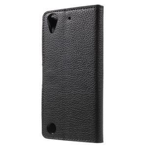 Peněženkové PU kožené pouzdro na HTC Desire 530 a Desire 630 - černé - 2