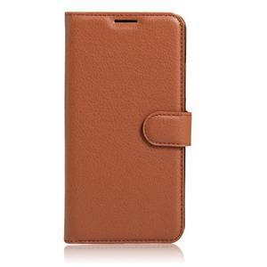 Graines PU kožené puzdro pre HTC One A9s - hnedé - 2