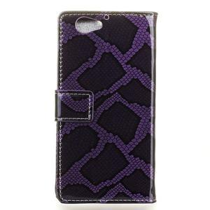 SnakeŠtýle PU kožené peňaženkové puzdro pre HTC One A9s - fialové - 2