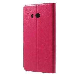 Horse PU kožené zapínací pouzdro na HTC U11 - rose - 2