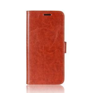 Crazy Pu kožené peněženkové pouzdro na mobil HTC U11 - hnědé - 2
