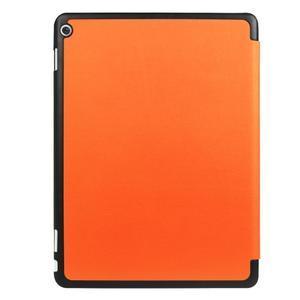 Trifold polohovatelné PU kožené pouzdro na Huawei MediaPad M3 Lite 10 - oranžové - 2