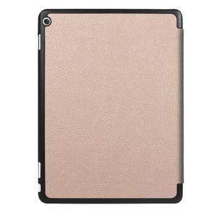 Trifold polohovatelné PU kožené pouzdro na Huawei MediaPad M3 Lite 10 - zlatorůžové - 2