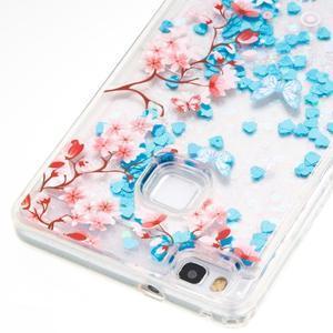 Glitter přesýpací gelový obal na mobil Huawei P9 Lite - květiny - 2