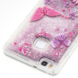 Glitter přesýpací gelový obal na mobil Huawei P9 Lite - motýlci - 2