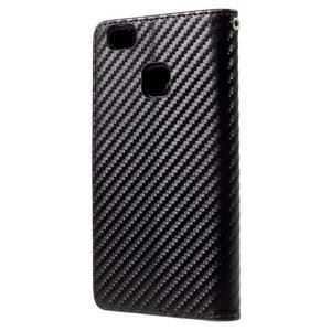 Carbon PU kožené pouzdro na Huawei P9 Lite - černé - 2