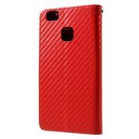 Carbon PU kožené pouzdro na Huawei P9 Lite - červené - 2/3