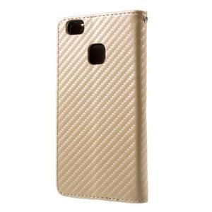 Carbon PU kožené pouzdro na Huawei P9 Lite - zlaté - 2