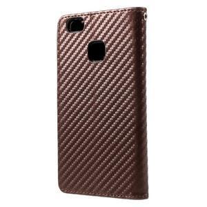 Carbon PU kožené pouzdro na Huawei P9 Lite - hnědé - 2