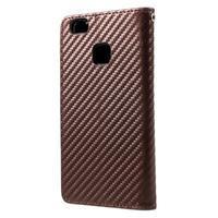 Carbon PU kožené pouzdro na Huawei P9 Lite - hnědé - 2/4