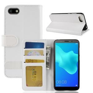 Crazy PU kožené peněženkové pouzdro na Huawei Y5 (2018) - bílé - 2