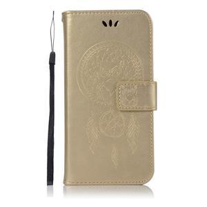 Dream PU kožené peněženkové pouzdro na mobil Huawei Y5 (2018) - zlaté - 2