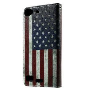 Peněženkové PU kožené pouzdro Lenovo Vibe X2 - USA vlajka - 2