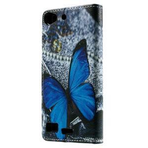 Peněženkové PU kožené pouzdro Lenovo Vibe X2 - modrý motýl - 2