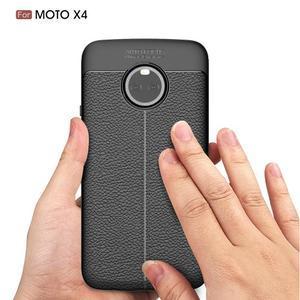 Litchi odolný gelový obal s texturovanými zády na Lenovo Moto X4 - šedý - 2