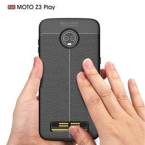 Litch gelový odolný obal s texturou na Lenovo Moto Z3 Play - tmavě modrý - 2