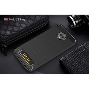Carbon odolný gelový obal s broušením na Lenovo Moto Z3 Play - černý - 2