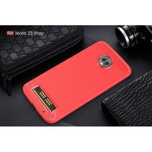 Carbon odolný gelový obal s broušením na Lenovo Moto Z3 Play - červený - 2