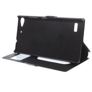 PU kožený obal s okýnky na Lenovo Vibe X2 - černý - 2