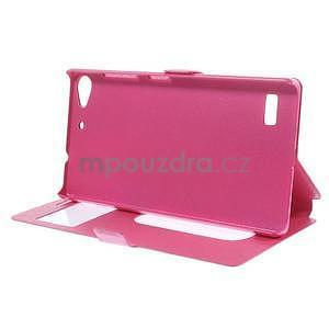 PU kožený obal s okýnky na Lenovo Vibe X2 - rose - 2