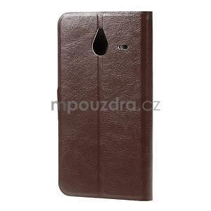 Peněženkové PU kožené pouzdro na Microsoft Lumia 640 XL - hnědé - 2