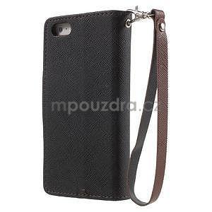 Dvoubarevné peněženkové pouzdro na iPhone 5 a 5s - černé/hnědé - 2