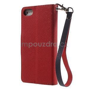 Dvoubarevné peněženkové pouzdro na iPhone 5 a 5s - červené/tmavěmodré - 2