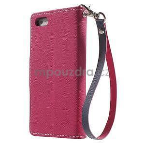 Dvoubarevné peněženkové pouzdro na iPhone 5 a 5s - rose/tmavěmodré - 2