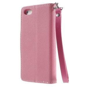 Dvoubarevné peněženkové pouzdro na iPhone 5 a 5s - růžové/rose - 2