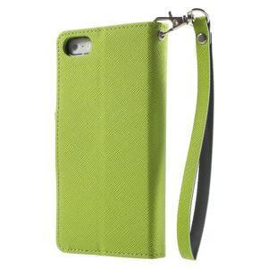 Dvoubarevné peněženkové pouzdro na iPhone 5 a 5s - zelené/tmavěmodré - 2