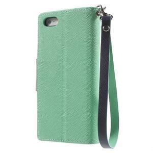 Dvoubarevné peněženkové pouzdro na iPhone 5 a 5s - azurové/tmavěmodré - 2