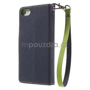 Dvoubarevné peněženkové pouzdro na iPhone 5 a 5s - tmavěmodré/zelené - 2