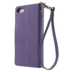 Dvoubarevné peněženkové pouzdro na iPhone 5 a 5s - fialové/tmavěmodré - 2