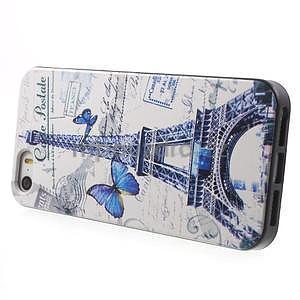 Gelové pouzdro na iPhone 5 a 5s - Eiffelova věž a motýlci - 2