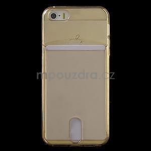 Ultra tenký obal s kapsičkou pro iPhone 5 a 5s - champagne - 2
