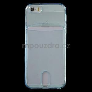 Ultra tenký obal s kapsičkou pro iPhone 5 a 5s - modrý - 2