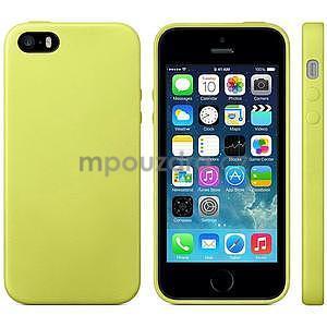 Gelový obal s texturou na iPhone 5 a 5s - žlutozelený - 2